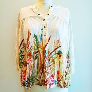 Anthropologie Postmark popover botanical blouse